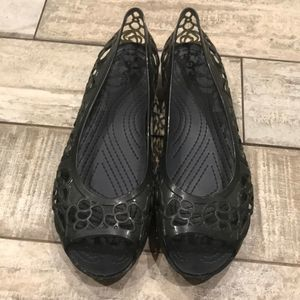 Crocs size 11 gray open toe sandal